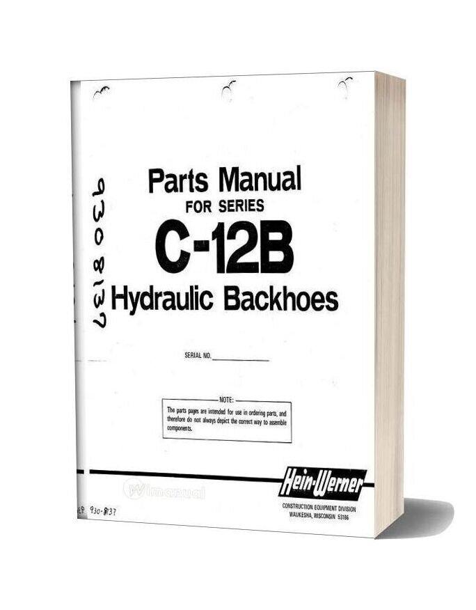 Hein Warner C12b Pm 9308137 Parts Book