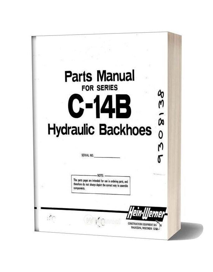 Hein Warner C14b Pm 9308138 Parts Book