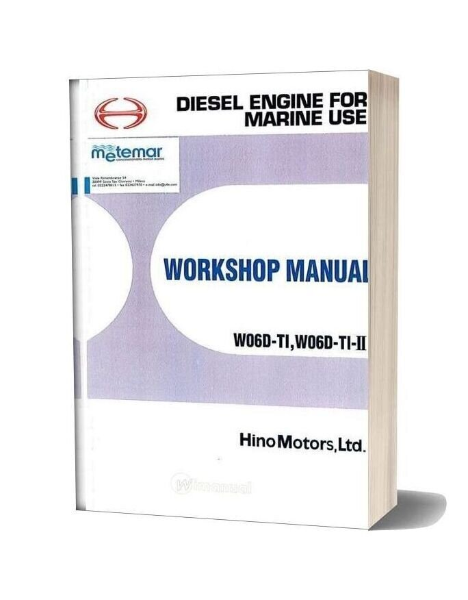 Hino Diesel Engine W06c Ti W04v Ti Workshop Manual