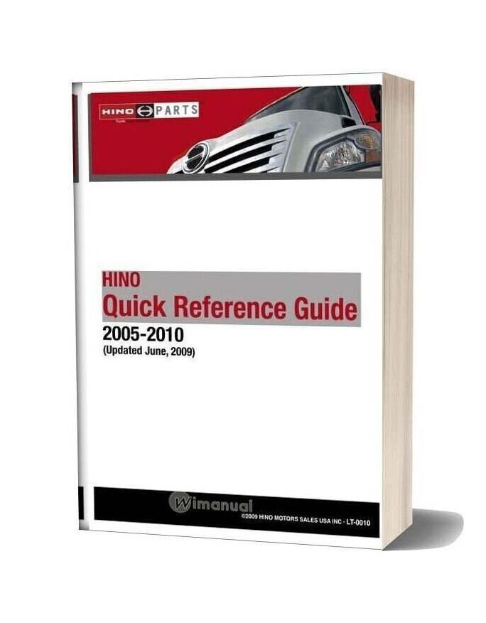 Hino Truck 2005 2010 Quick Reference Guide