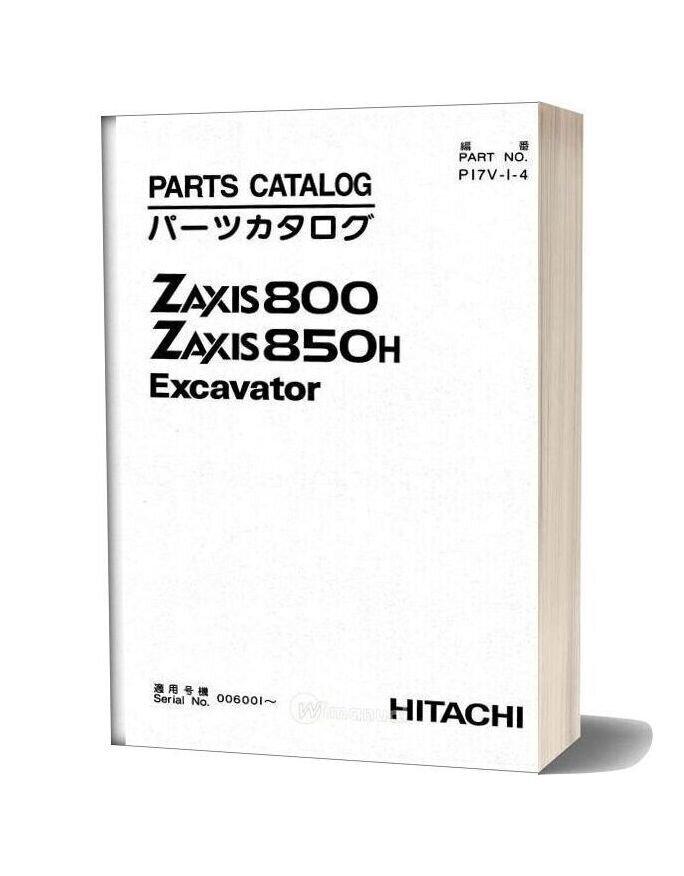 Hitachi Excavator Zaxis 800 850h Parts Catalog