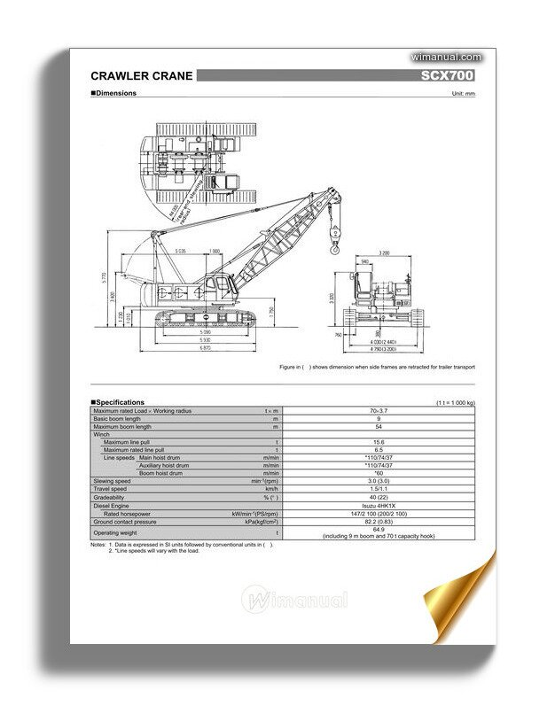 Hitachi Sumitomo Scx700 Hydraulic Crawler Crane Specifications