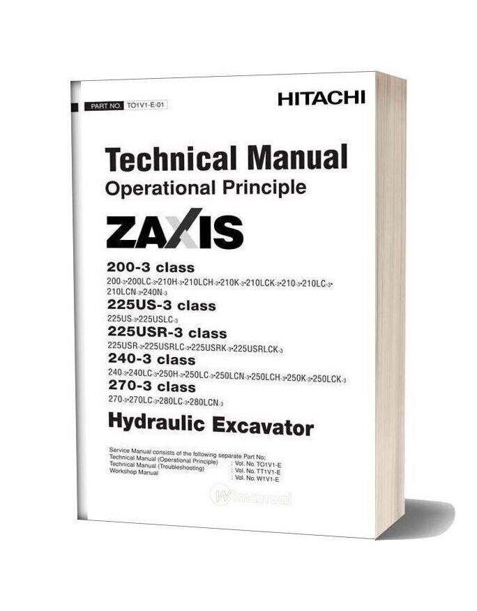 Hitachi Zaxis 200 225us 225usr 240 270 3 Technical Manual Operational Principle