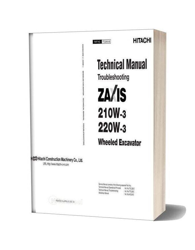 Hitachi Zaxis 210w 220w 3 Technical Manual Troubleshooting