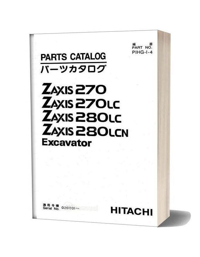 Hitachi Zaxis 270 270lc 280lc 280lcn Parts Catalog