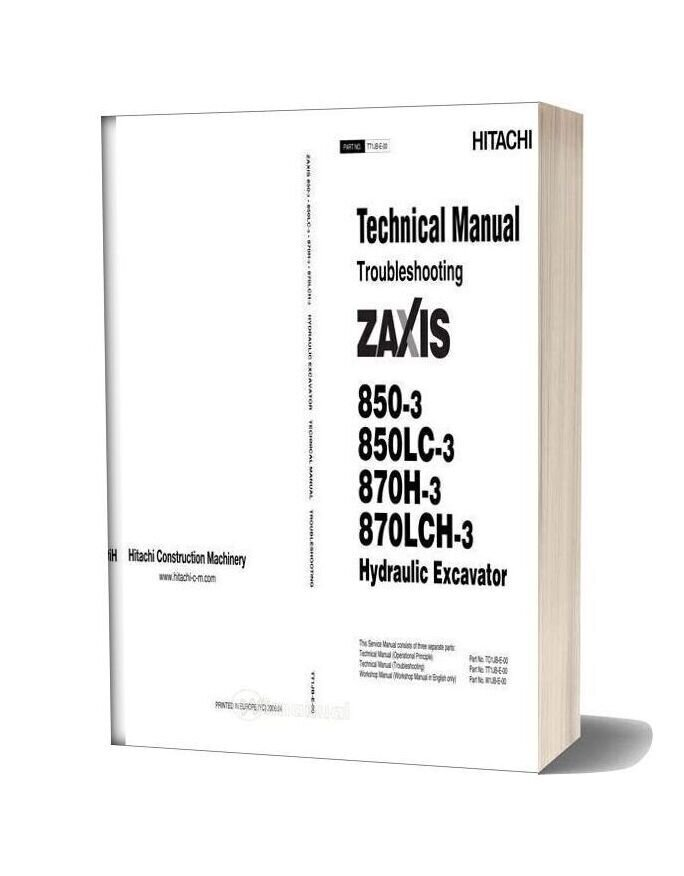 Hitachi Zaxis 850 850lc 870h 870lch 3 Troubleshooting
