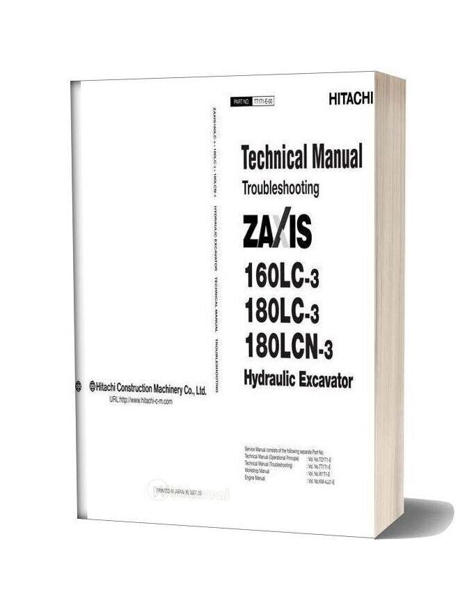Hitachi Zx160lc 180lc 180lcn 3 Hydraulic Excavator Troubleshooting