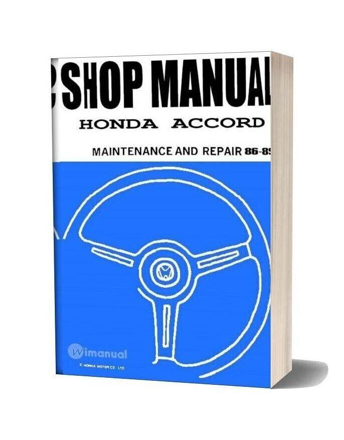 Honda Accord 1986 1989 Maint Repair Manual