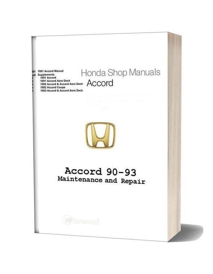 Honda Accord 1990 1993 Maint Repair Manual