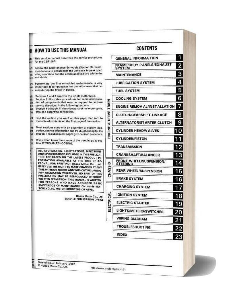 Honda Cbr150r Service Manual English
