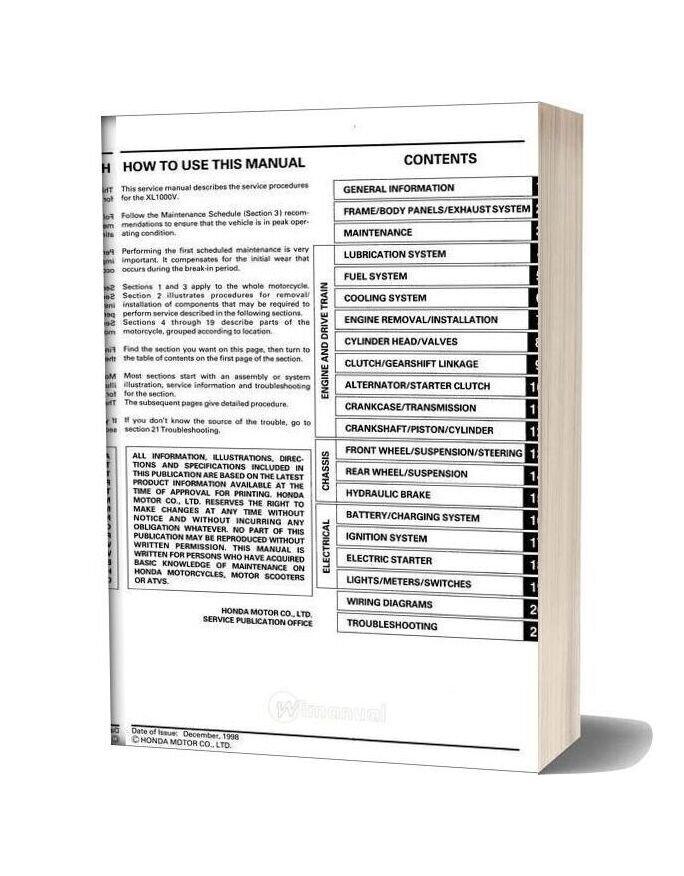 Honda Xl1000v Varadero Service Manual En