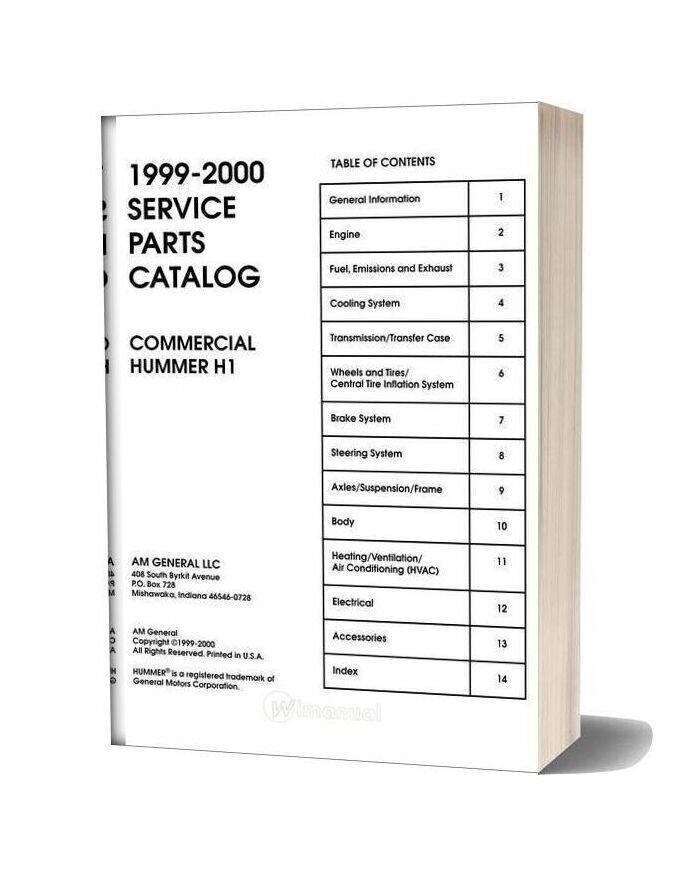 Hummer 1999 2000 Parts Catalog