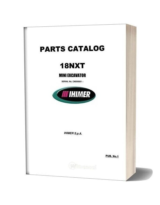 Ihi Mini Excavator 18nxt Parts Catalog