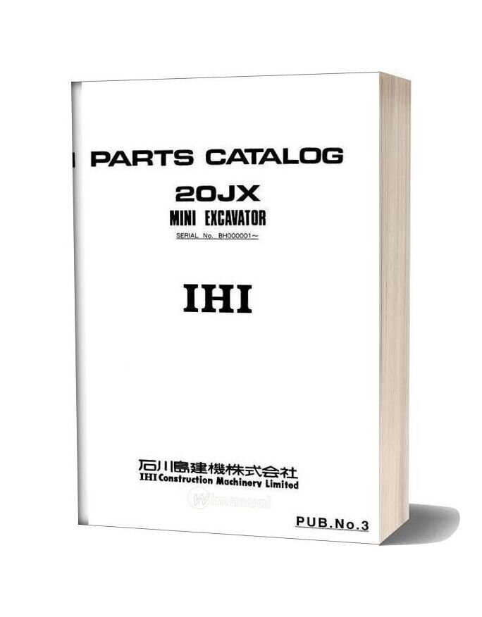 Ihi Mini Excavator 20jx Parts Catalog