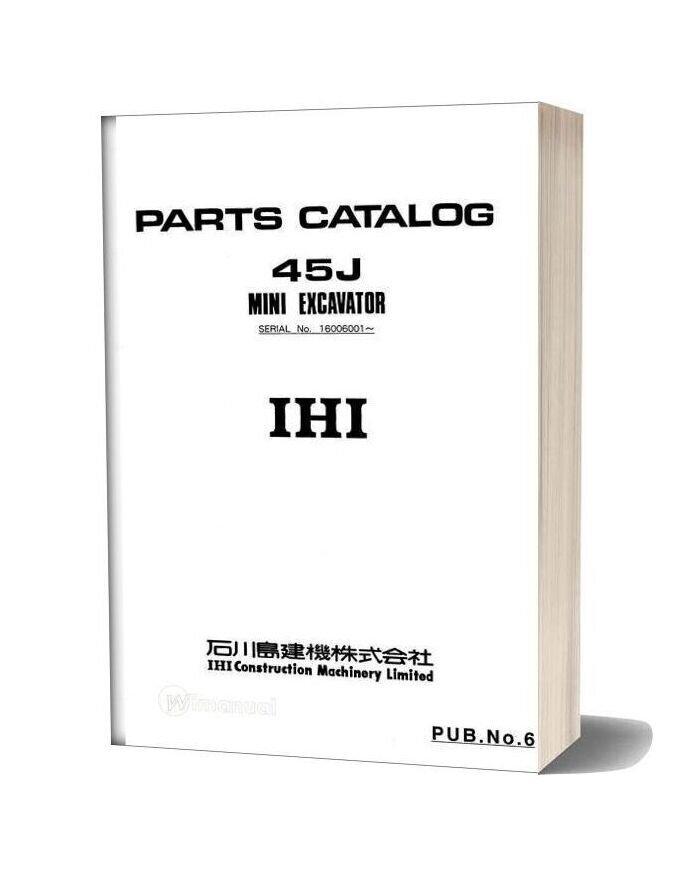 Ihi Mini Excavator 45j Parts Catalog