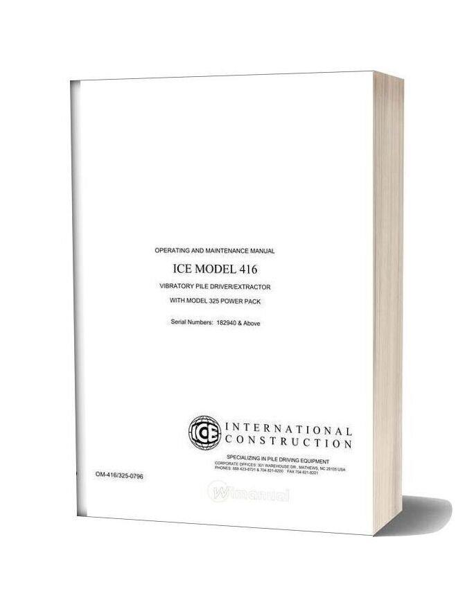 International Operating And Maintenance Manual Ice Model 416