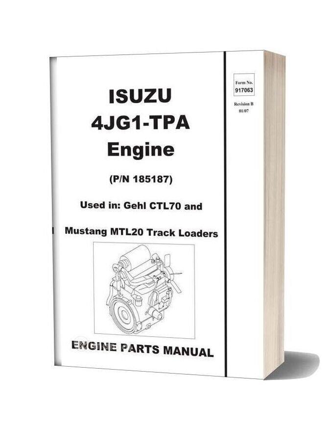 Isuzu 4jg1 Ctl70 Compact Track Loader Tpa Engine Parts Manual 917063b
