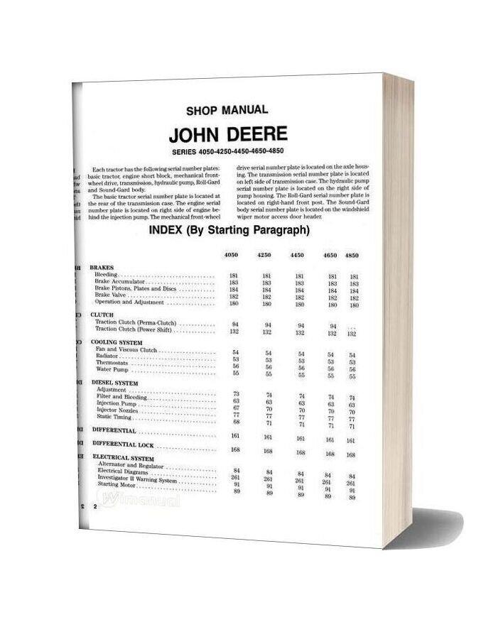 Jd 4050 4250 4450 4650 4850shop Manual Shop Manual