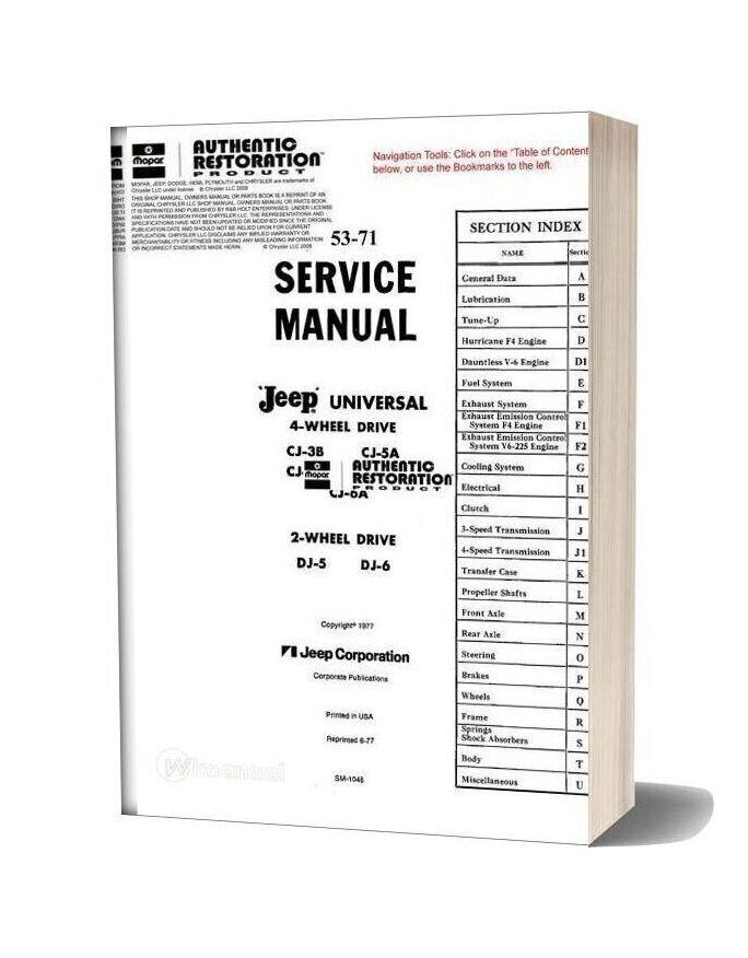 Jeep Cj Dj 53 71 Service Manual