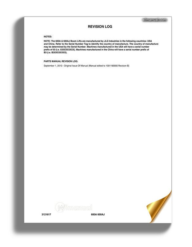 Jlg 600a  U0026 600aj Illustrated Parts Manual