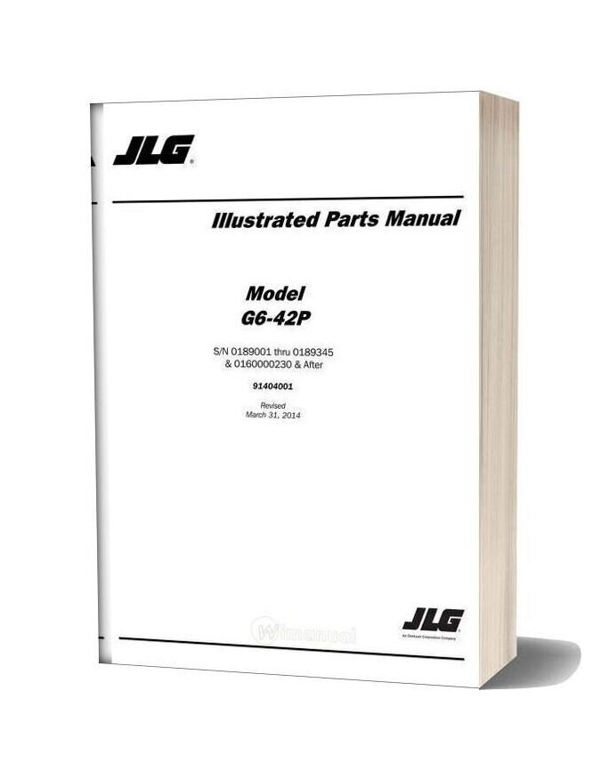 Jlg G6 42p Telehandler Parts Manual