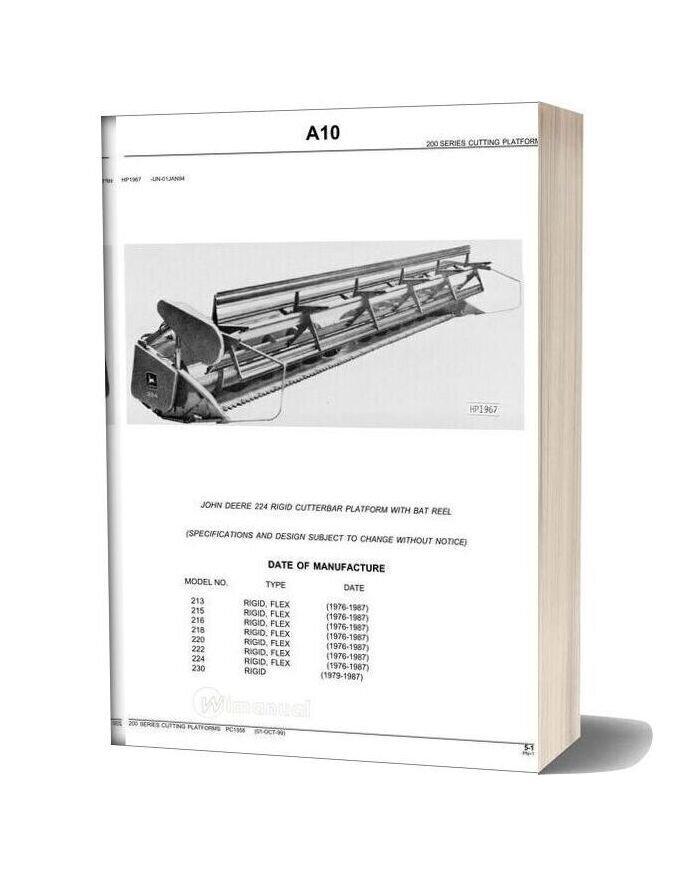John Deere 224 Rigid Cutterbar Platform Parts Catalog