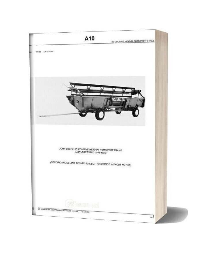 John Deere 25 Combine Header Transport Frame Parts Catalog