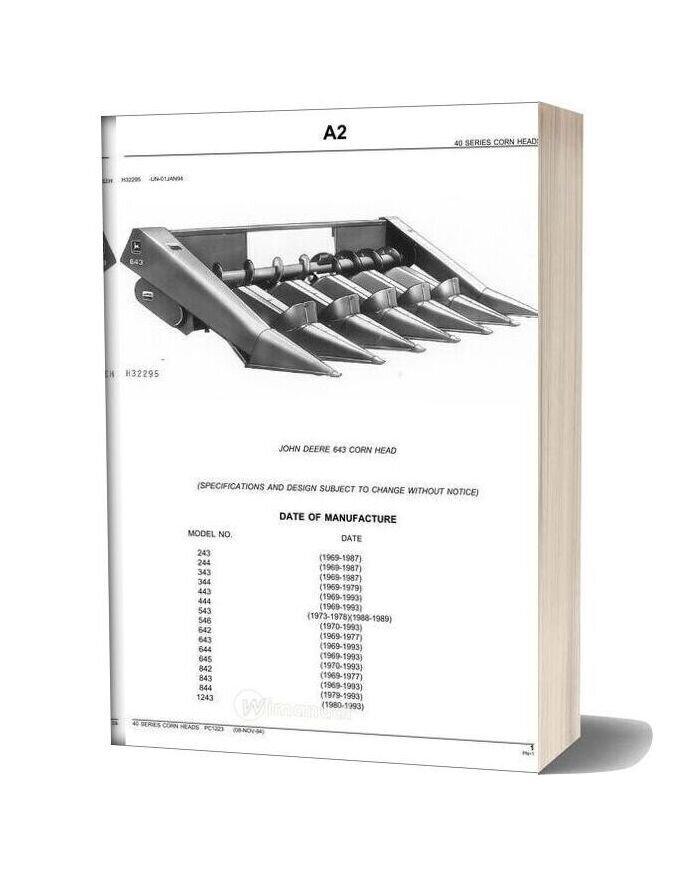 John Deere 643 Corn Head Parts Catalog