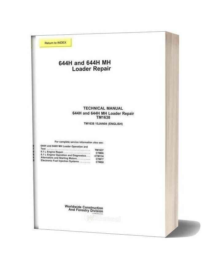John Deere 644h 644h Mh Repair Manual