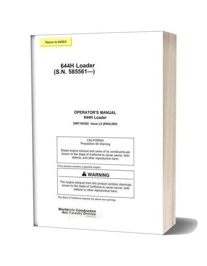John Deere 644h Operator Manual