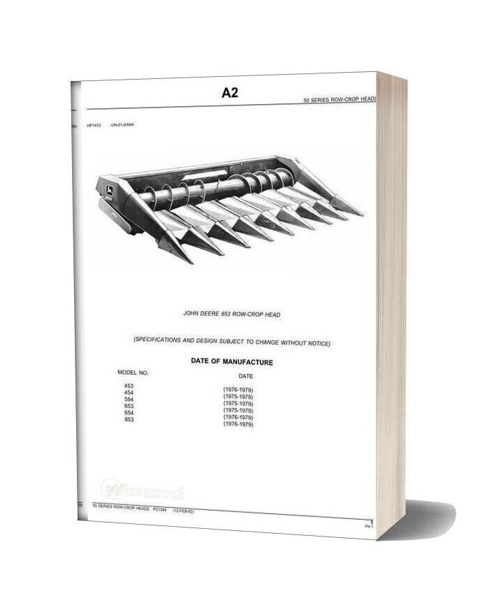 John Deere 853 Row Crop Head Parts Catalog