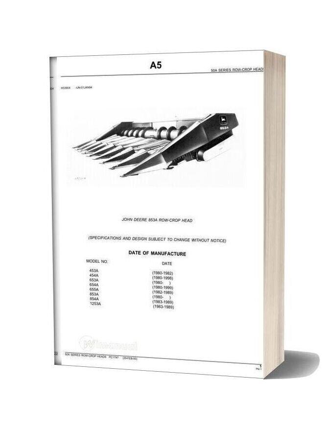 John Deere 853a Row Crop Head Parts Catalog