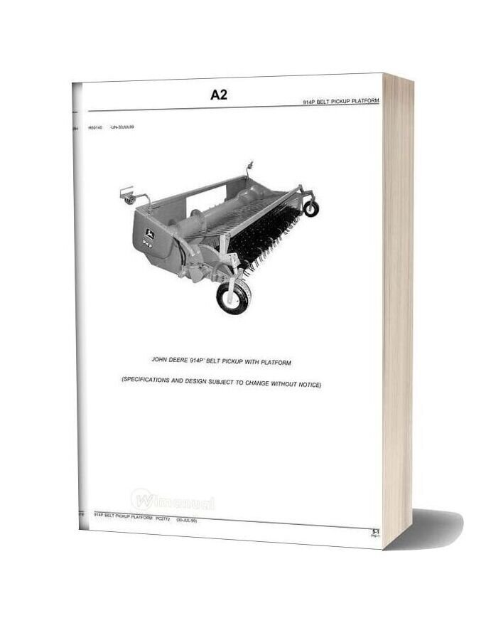 John Deere 914p Belt Pickup With Platform Parts Catalog