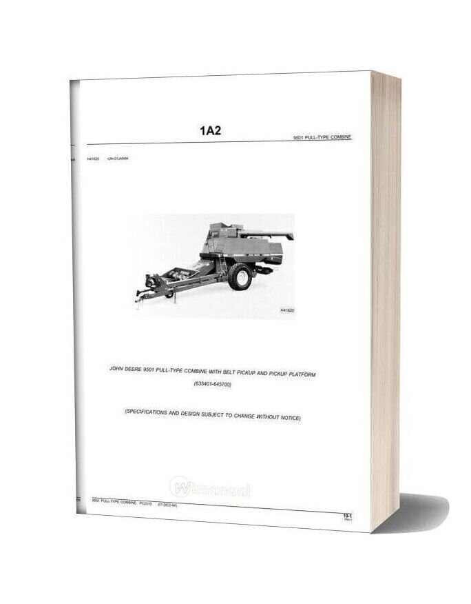 John Deere 9501 Parts Book