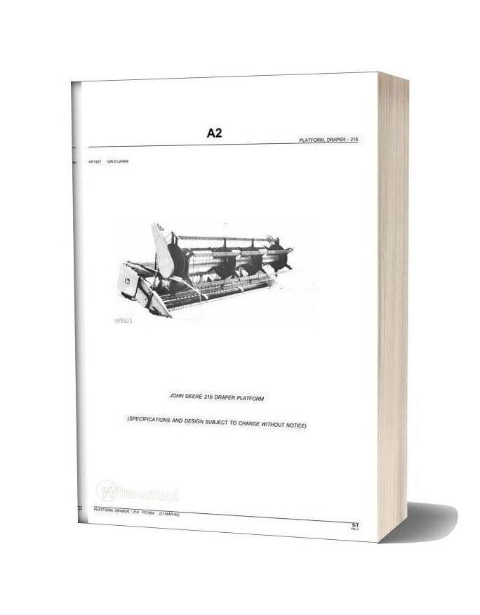 John Deere Platform Draper 218 Parts Catalog
