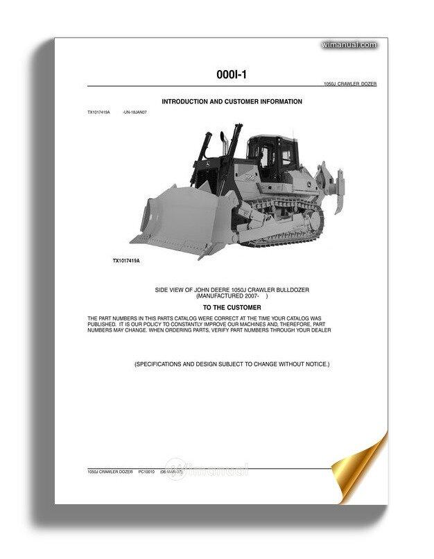 John Deree 1050j Crawler Dozer Parts Catalog