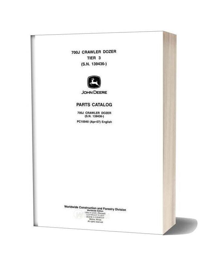 John Deree 700j Tier 3 Crawler Parts Catalog