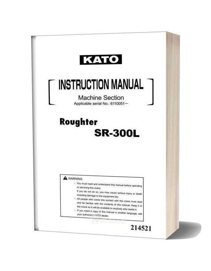 Kato Sr 300l Instruction Manual