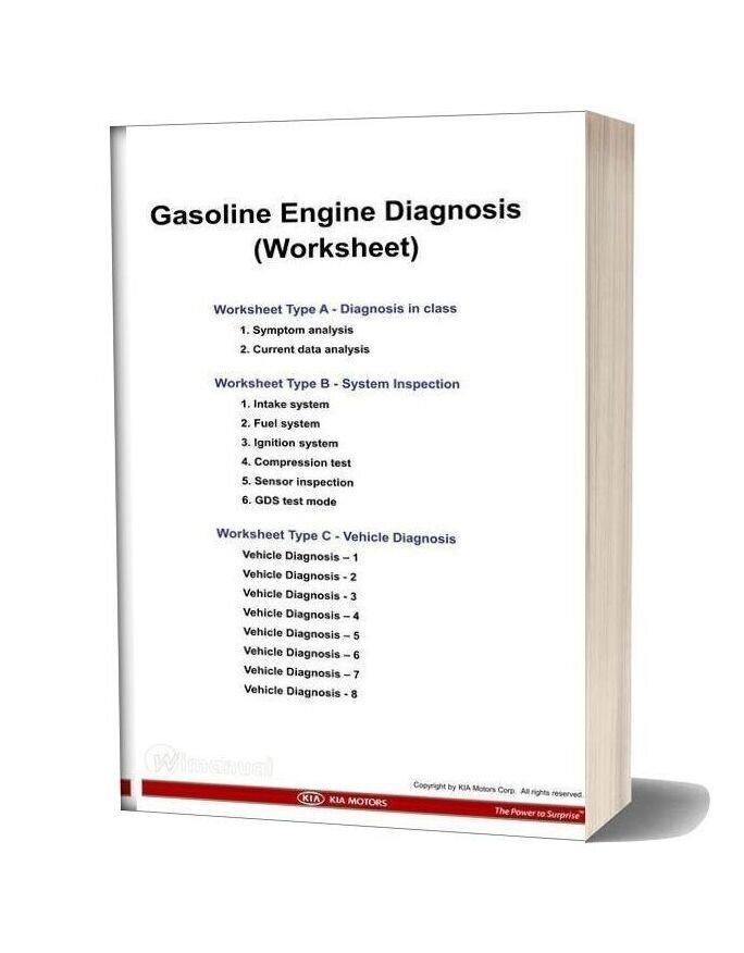 Kia Training 2011 Work Sheet Gasoline Engine Diagnosis Kmc New