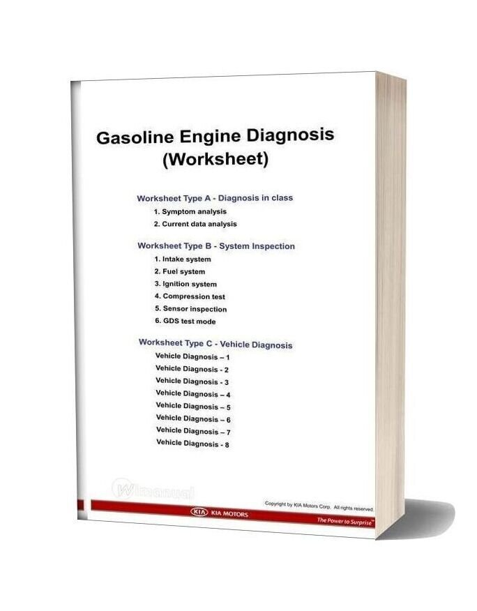 Kia Training Work Sheet Gasoline Engine Diagnosis Kmc New 2011