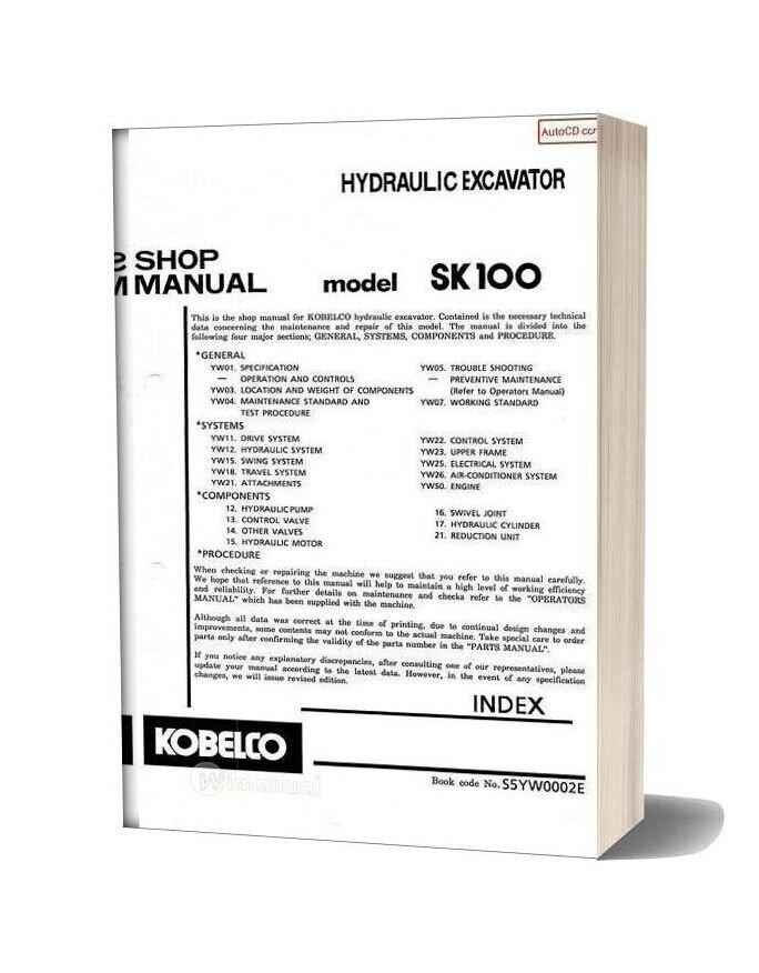 Kobelco Sk100 Shop Manual S5yw0002e Gb