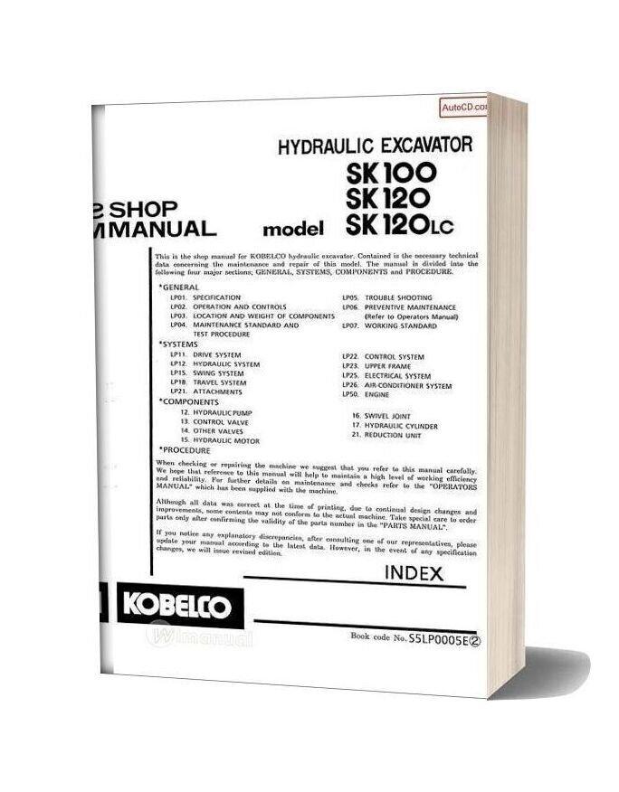Kobelco Sk100 Sk120 Sk120 Lc Hydraulic Excavator Book Code No S5lp0005e