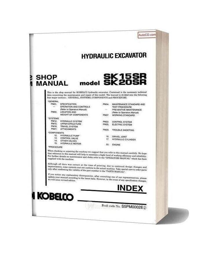 Kobelco Sk150sr Sk20sr Hydraulic Excavator Book Code No S5pm0002e