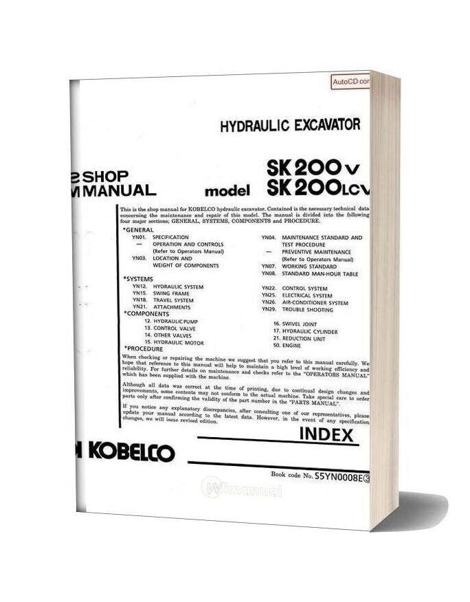 Kobelco Sk200v Sk200lcv Hydraulic Excavator Book Code No S5yn0008e