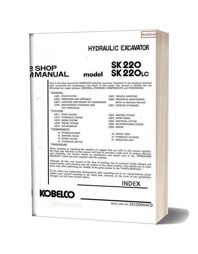 Kobelco Sk220 Sk220lc Hydraulic Excavator Book Code No S5lq0004e