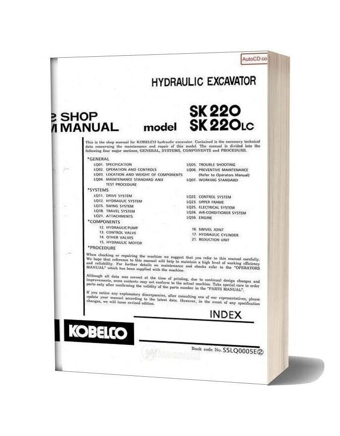 Kobelco Sk220 Sk220lc Hydraulic Excavator Book Code No S5lq0005e