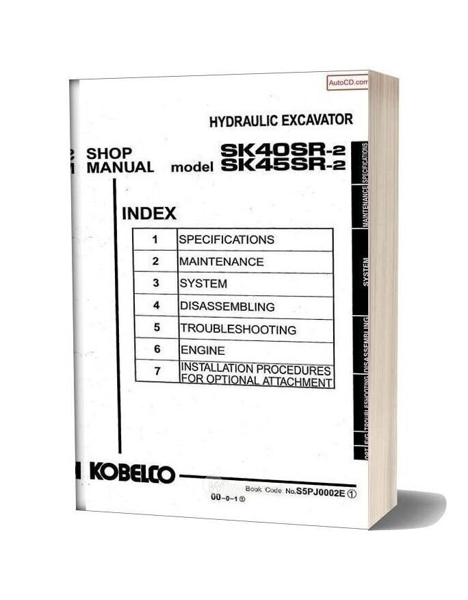 Kobelco Sk40sr Sk45sr 2 Hydraulic Excavator Book Code No S5ph0002e