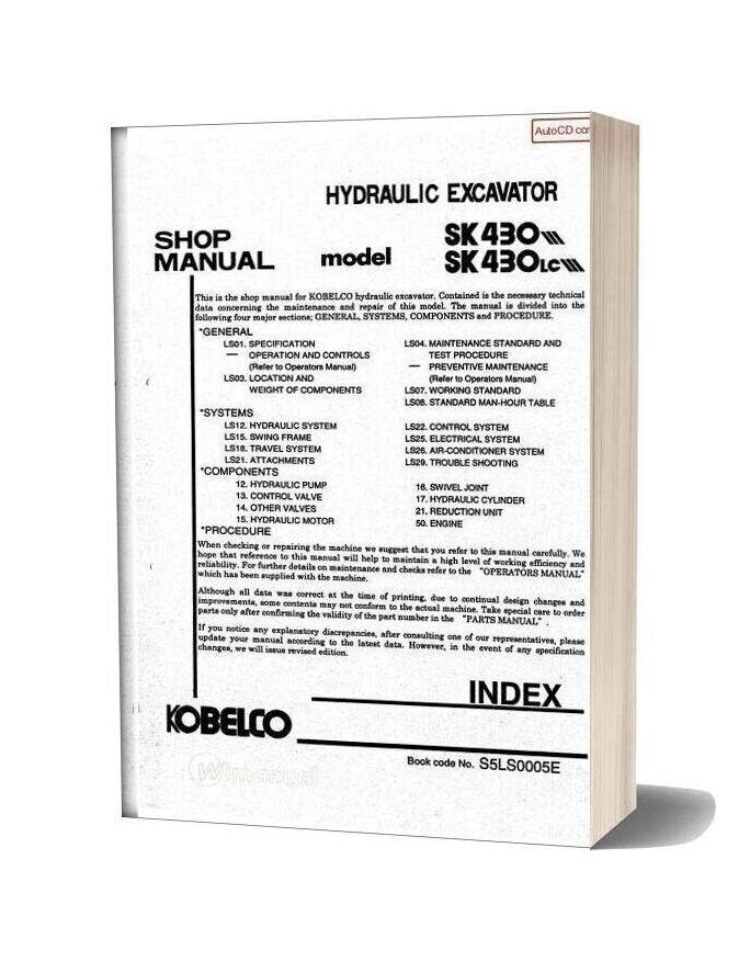 Kobelco Sk430 Iii Sk430lc Iii Shop Manual S5ls0005e Gb