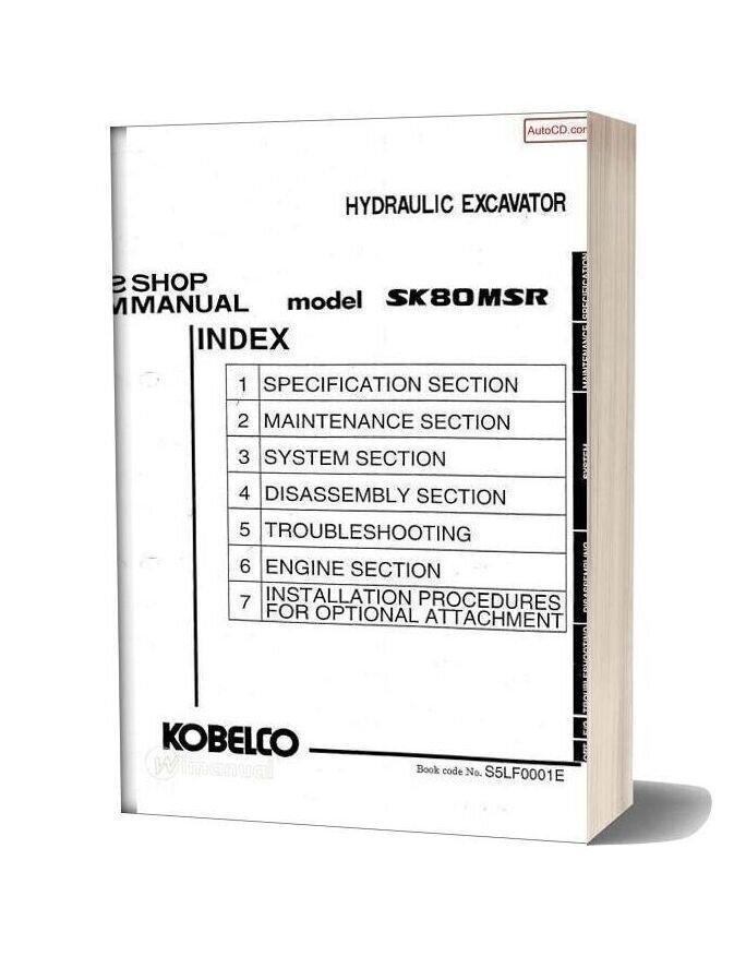 Kobelco Sk80msr Hydraulic Excavator Book Code No S5lf0001e