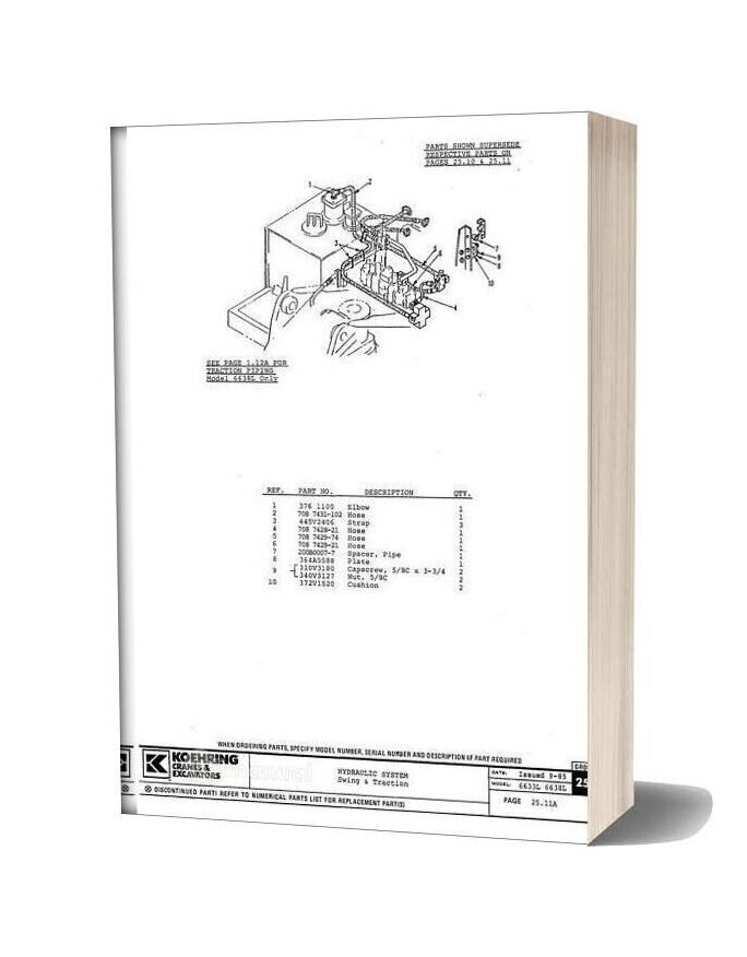 Koehring And Bantam Excavators 6633l Parts Book Supplement